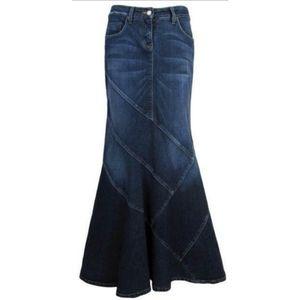 Bisou Bisou Jean Mermaid Trumpet Maxi Skirt 4